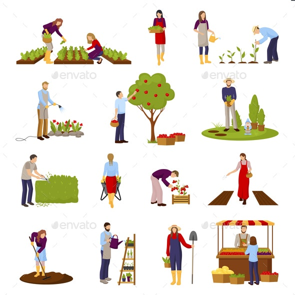 People and Horticulture Set - Food Objects