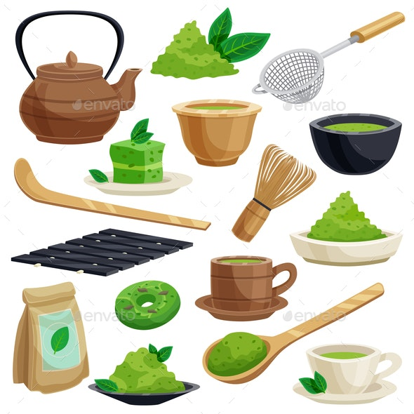 Japanese Tea Ceremony Icons Set - Food Objects