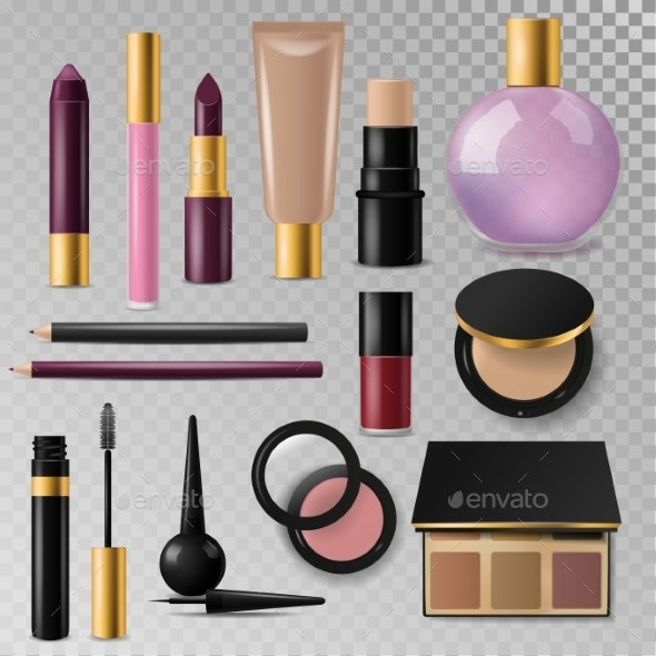Realistic Cosmetic Paks Make-up Bottle Luxury - Miscellaneous Vectors