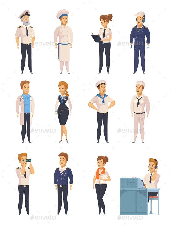 Yacht Ship Cartoon Characters Set - Miscellaneous Vectors