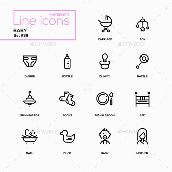 Maternity Concept - Line Design Icons Set - Miscellaneous Icons