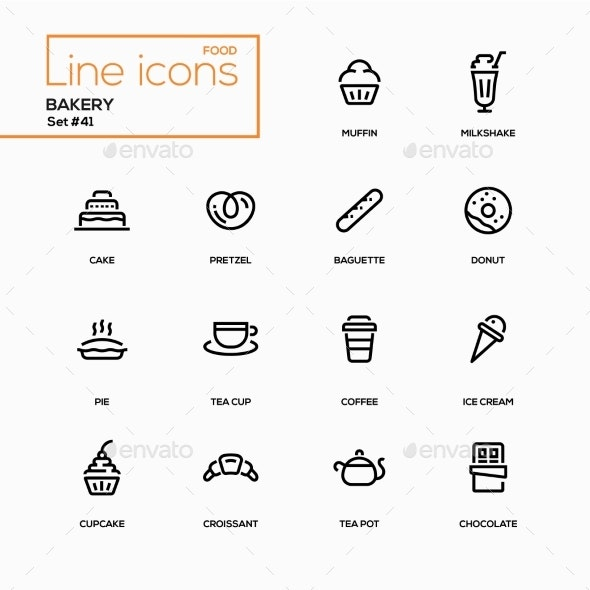Bakery Concept - Line Design Icons Set - Miscellaneous Icons