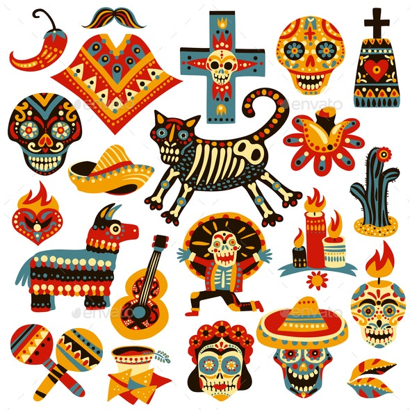 Mexican Holiday Day Of Dead Set - Food Objects