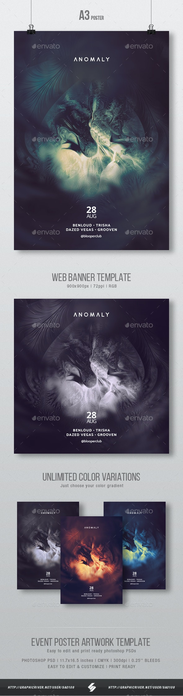 Anomaly - Minimal Party Flyer / Poster Artwork Template A3 - Clubs & Parties Events