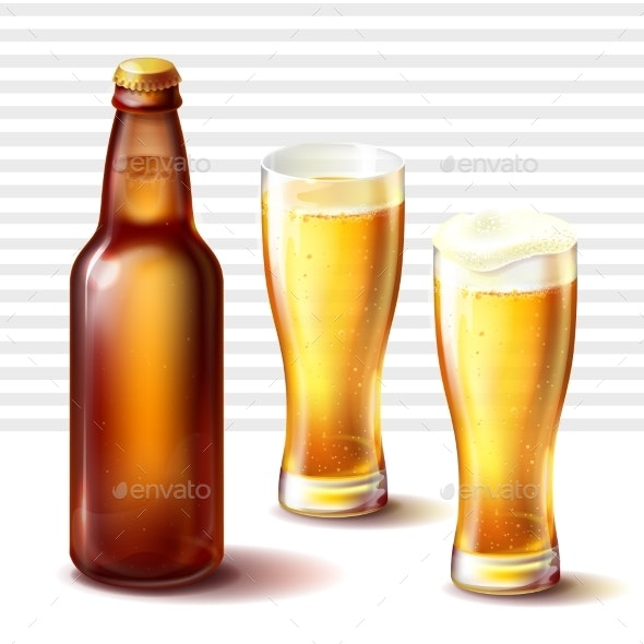 Beer Bottle and Weizen Glasses with Beer Vector - Food Objects