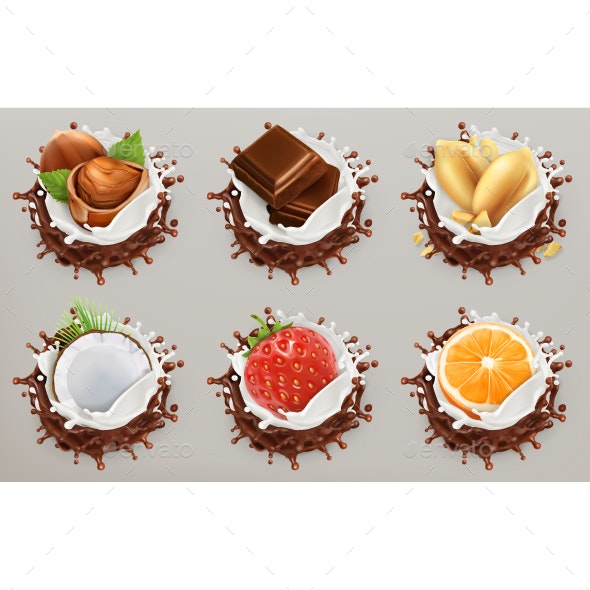 Fruit, Berries And Nuts. Milk And Chocolate Splashes - Vectors