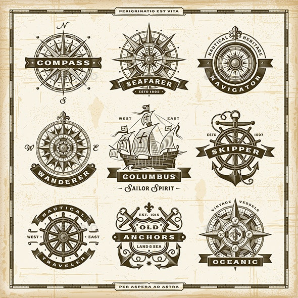 Vintage Nautical Labels Collection - Decorative Symbols Decorative