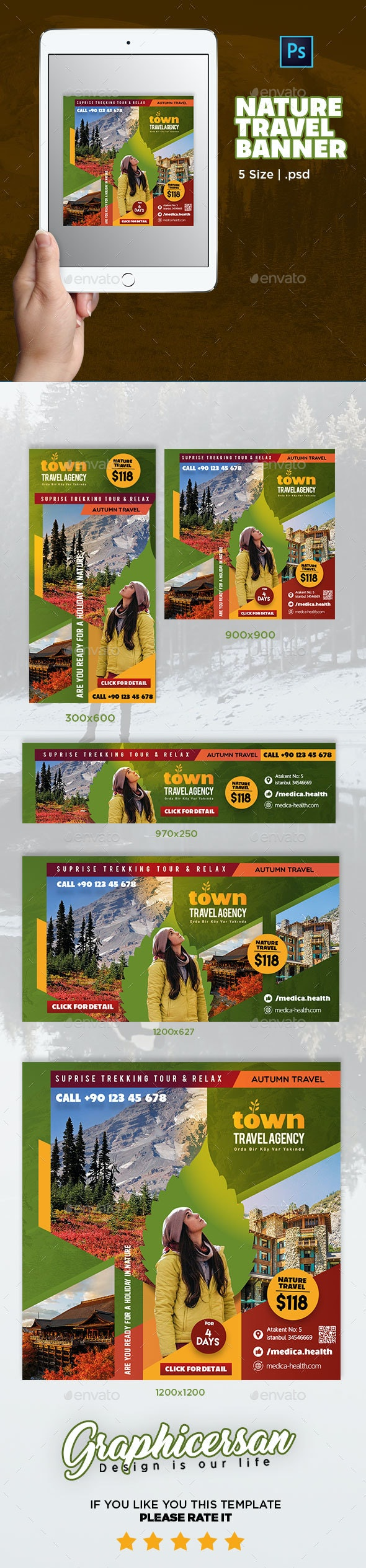 Nature Travel Banner Template - Banners & Ads Web Elements
