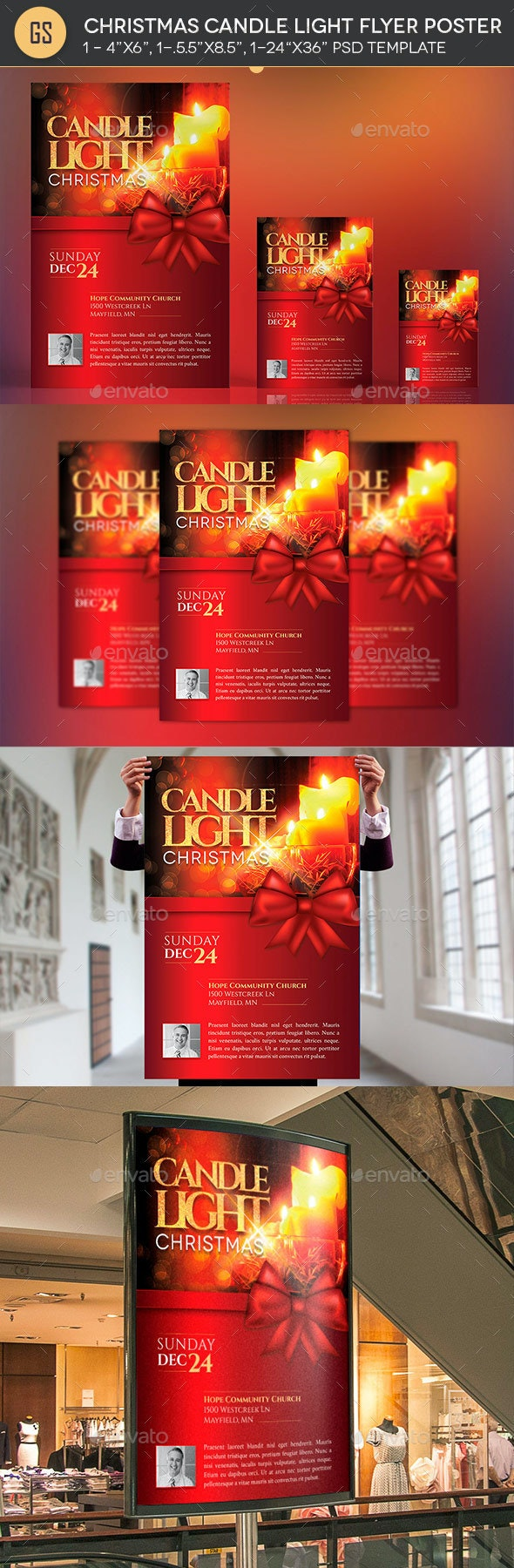 Christmas Candle Light Flyer Poster Template - Church Flyers
