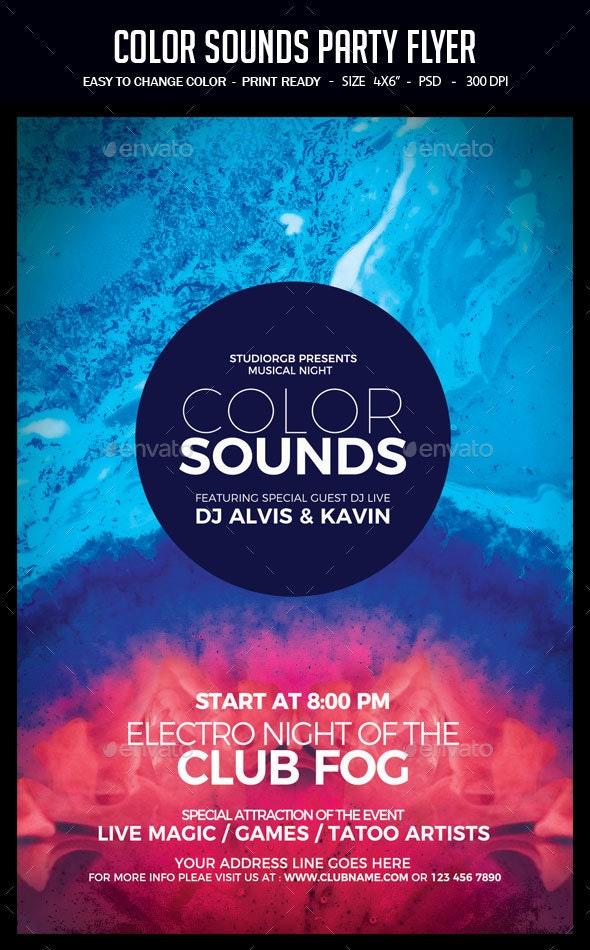 Color Sounds Party Flyer - Clubs & Parties Events