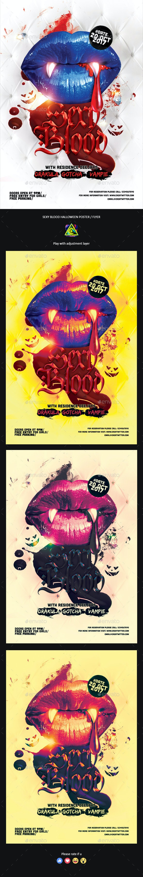 Sexy Blood Halloween Poster / Flyer - Clubs & Parties Events