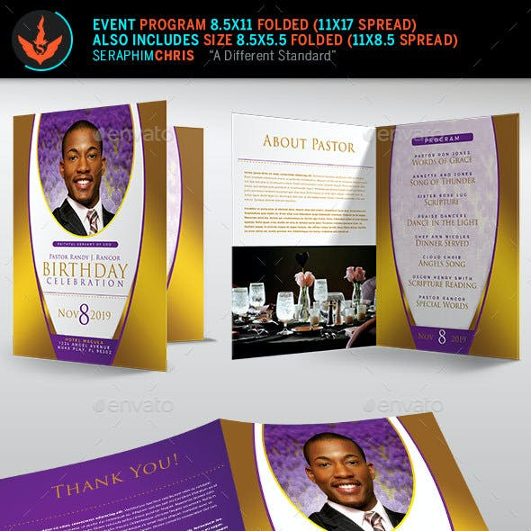 Royal Pastor Birthday Party Program Template