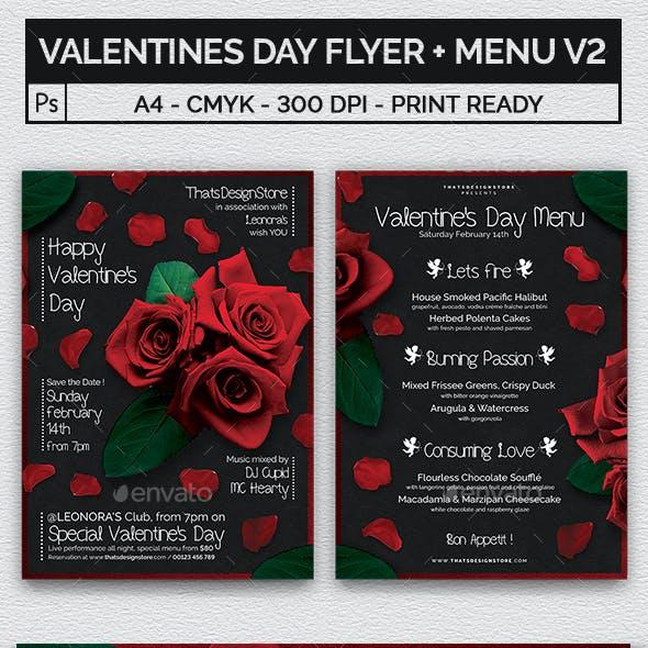 Valentines Day Flyer + Menu Bundle V2