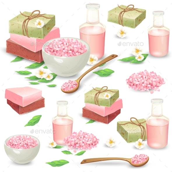 Natural Handmade Cosmetics for Spa Vector Set - Miscellaneous Vectors