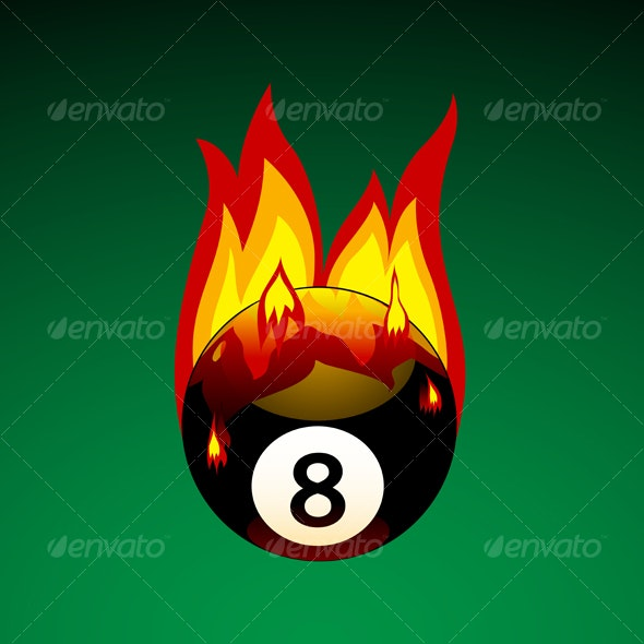 Pool Ball on Fire - Objects Illustrations