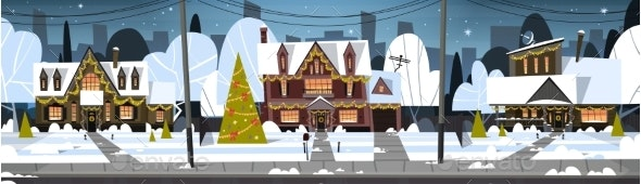 Winter Suburb Town View Snow On Houses - Seasons/Holidays Conceptual