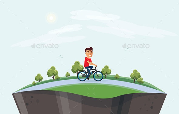Man on Electric Bicycle Riding in Nature Arranged on Globe - People Characters