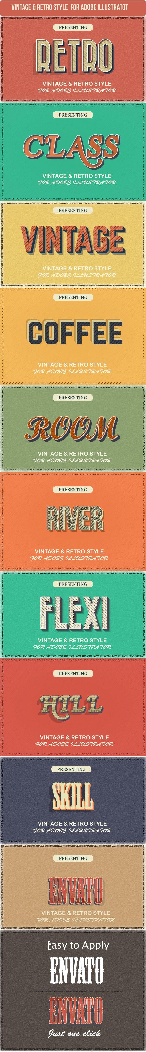 Vintage Graphic Styles for Illustrator - Styles Illustrator