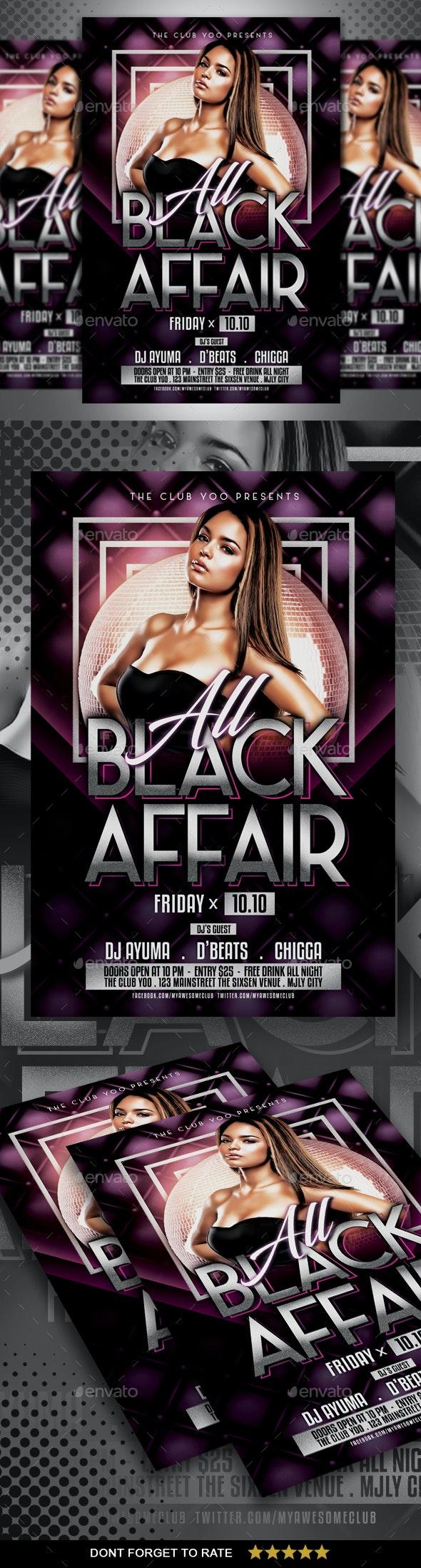 Black Affair Flyer - Clubs & Parties Events