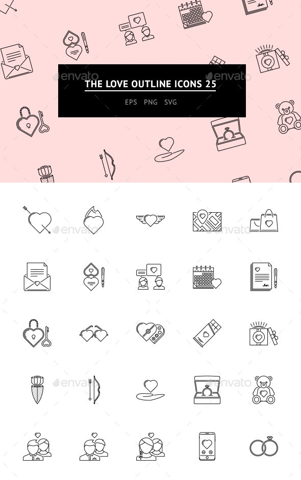 The Love Outline Icons 25 - Web Icons