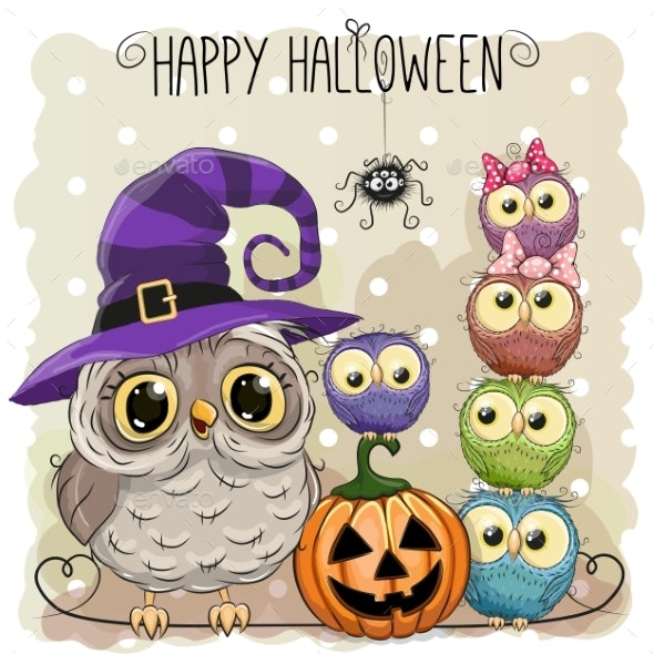 Halloween Card with Owls - People Characters