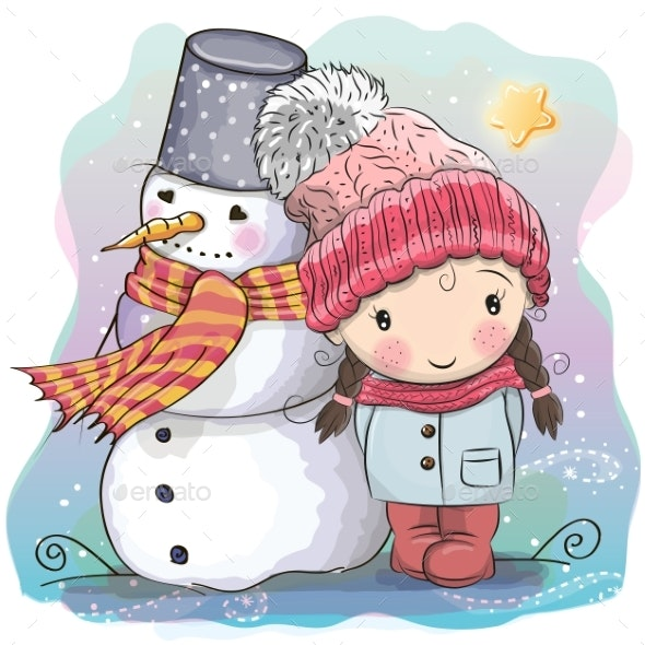 Girl and Snowman - People Characters