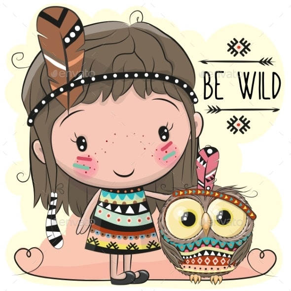Cartoon Girl and Owl - Animals Characters