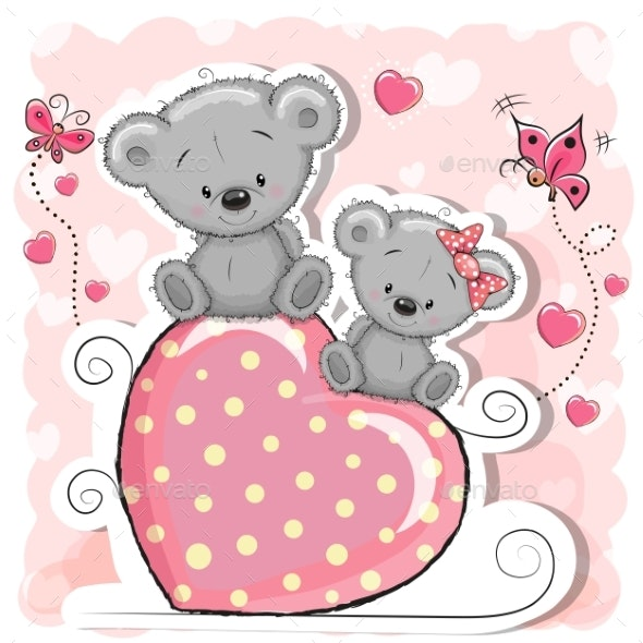 Two Bears Sitting on Heart - Animals Characters