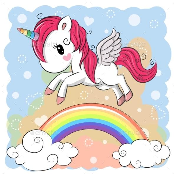 Cartoon Unicorn and Rainbow - Animals Characters