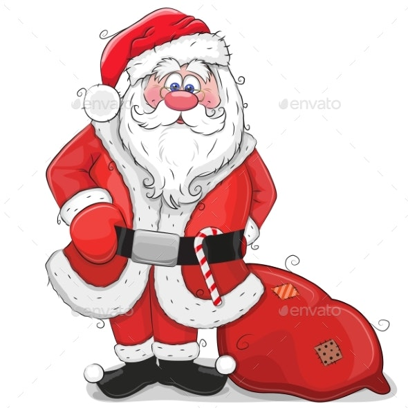 Cartoon Santa Claus on a White Background - Christmas Seasons/Holidays