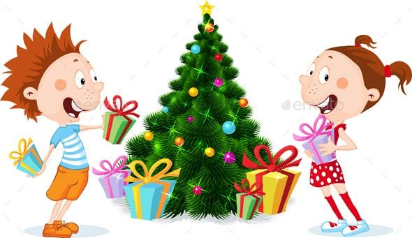 Children under the Christmas Tree Unwrap Gifts - Christmas Seasons/Holidays
