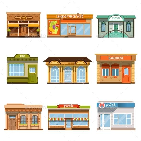 Store Shop Front Window Buildings Icon Set Flat - Buildings Objects