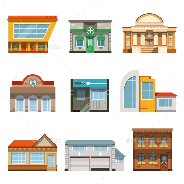 Store Shop Front Window Buildings Icon Set Flat - Buildings Objects