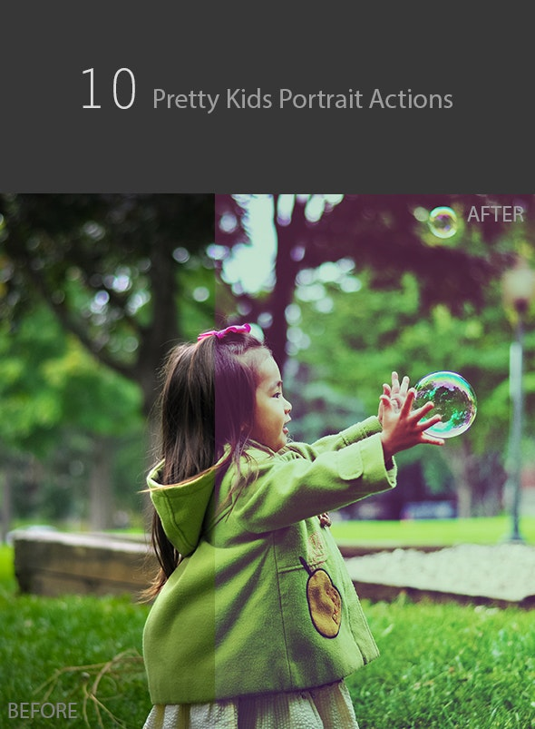 10 Pretty Kids Portrait Actions - Actions Photoshop