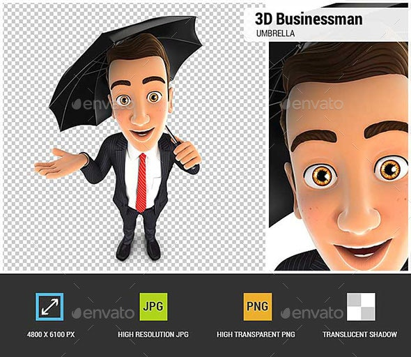 3D Businessman with an Umbrella - Characters 3D Renders
