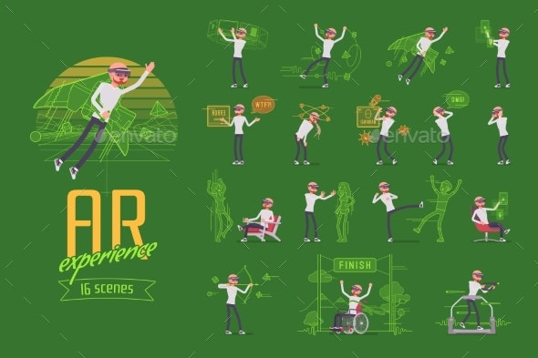 Augmented Reality Man Character Set, Various Poses - Technology Conceptual