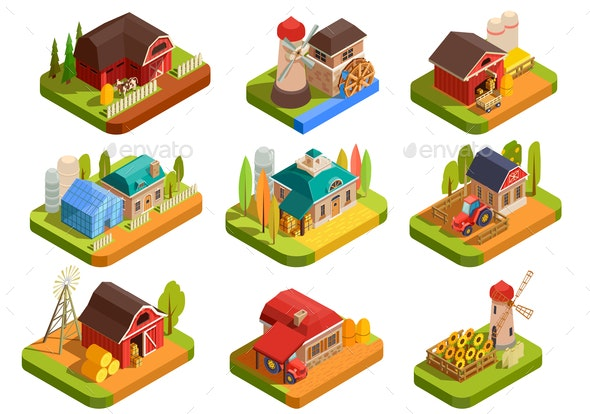 Farm Isometric Set - Buildings Objects