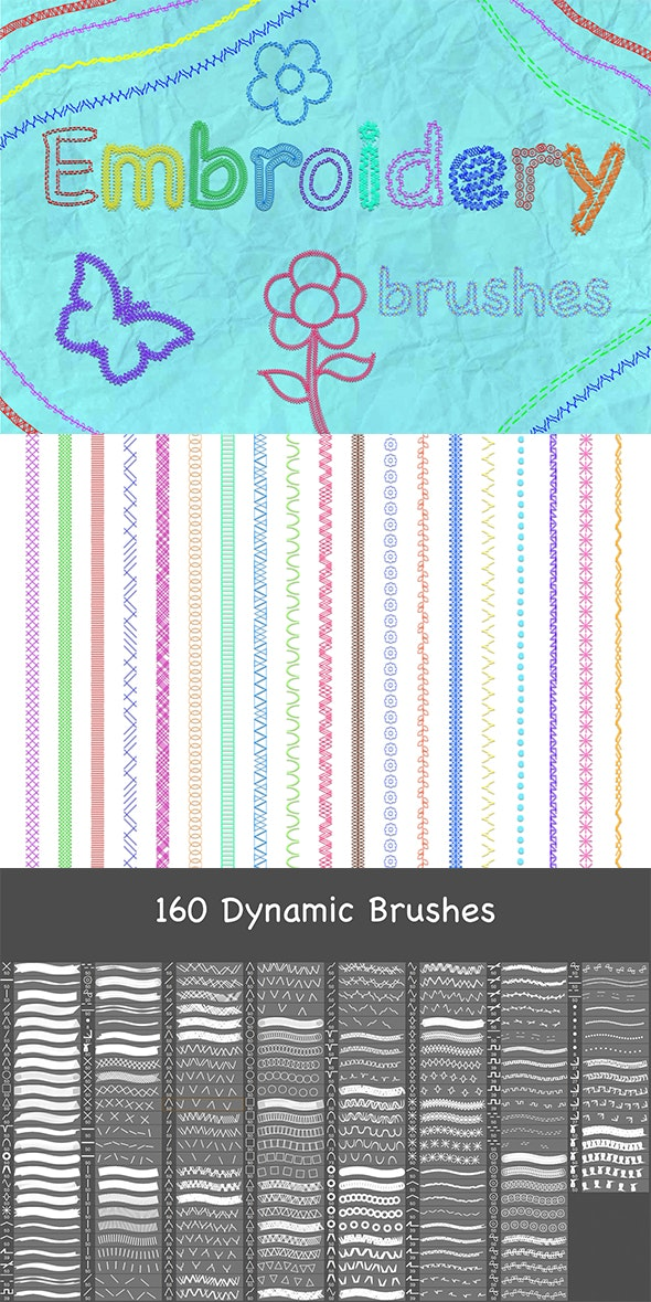 160 Embroidery Brushes - Artistic Brushes