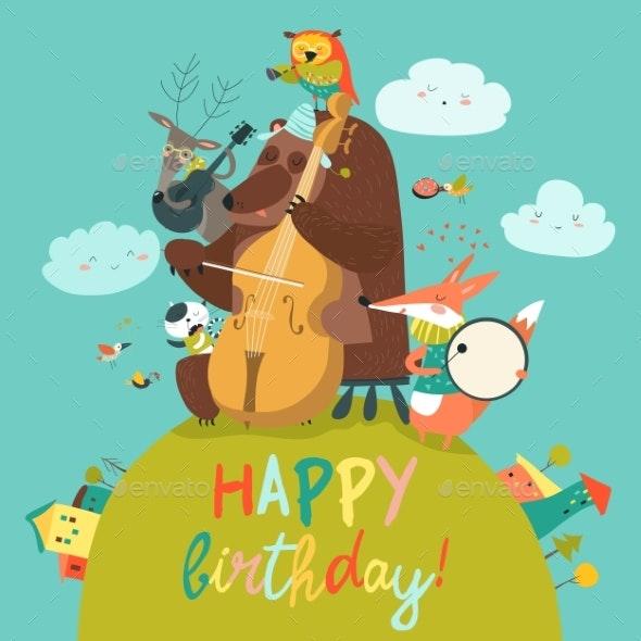 Cute Birthday Card with Animals and Music - Birthdays Seasons/Holidays