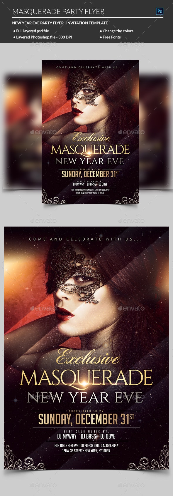 Masquerade Flyer - Clubs & Parties Events
