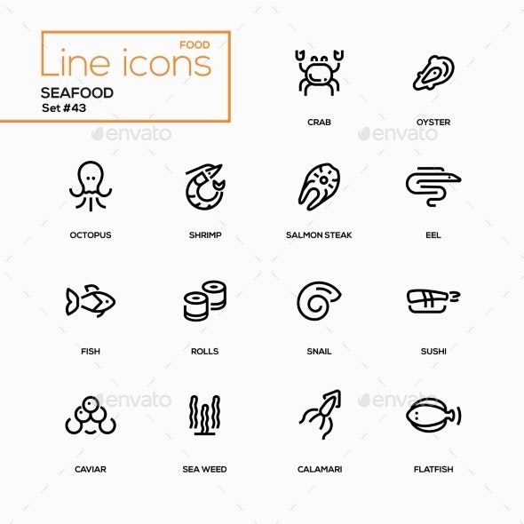 Seafood Concept - Line Design Icons Set - Miscellaneous Icons