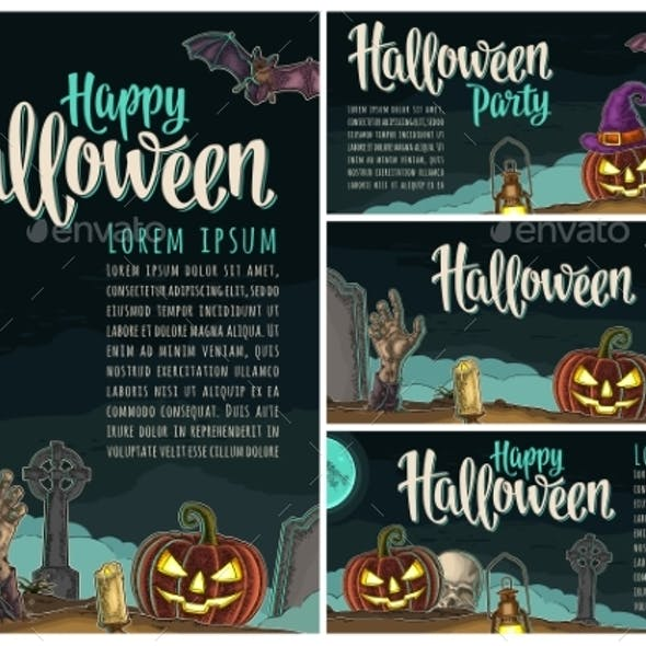 Posters Poster with Halloween Party Calligraphy