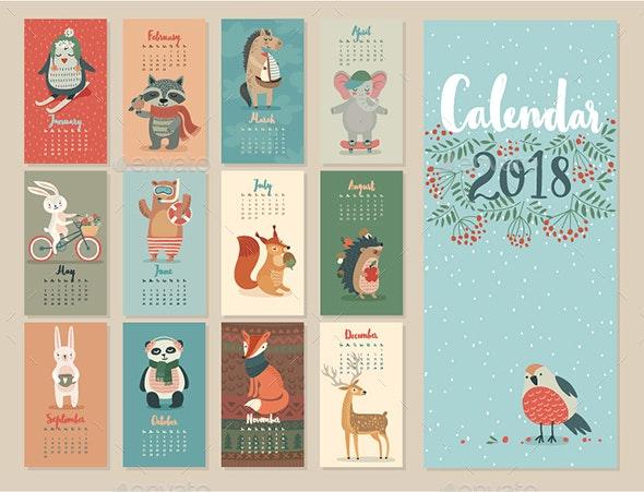 Calendar 2018 - Animals Characters