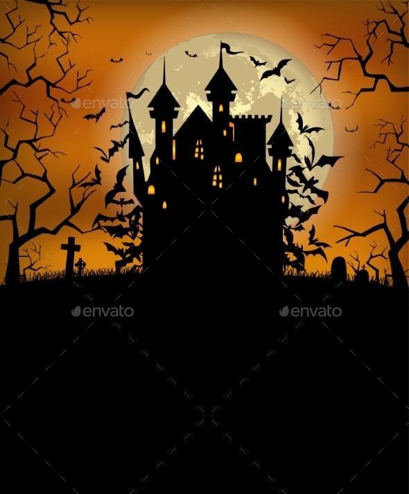 Halloween Background with Scary Dracula Castle - Halloween Seasons/Holidays