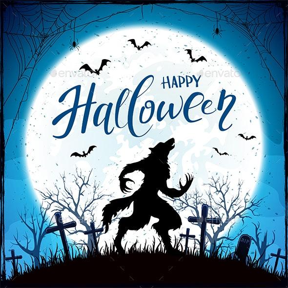 Happy Halloween with Werewolf and Bats on Blue Moon Background - Halloween Seasons/Holidays