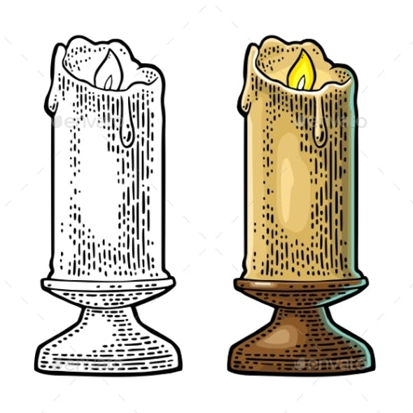 Burning Candle with Holder and Fire Flame