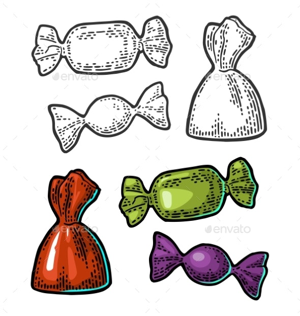 Candy Vector Vintage Black Engraving Illustration - Food Objects