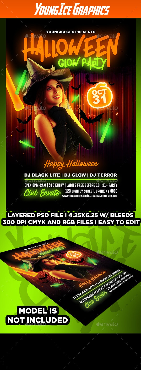 Halloween Glow Party Flyer - Clubs & Parties Events