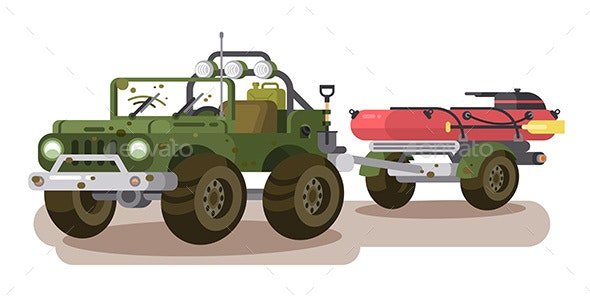 SUV Car with Trailer Boat - Man-made Objects Objects