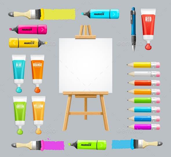 Board Easel Blank Empty and Painting Accessories Set. Vector - Objects Vectors